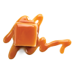 Caramel Roll icon - piece of square caramel candy with smear of caramel sauce